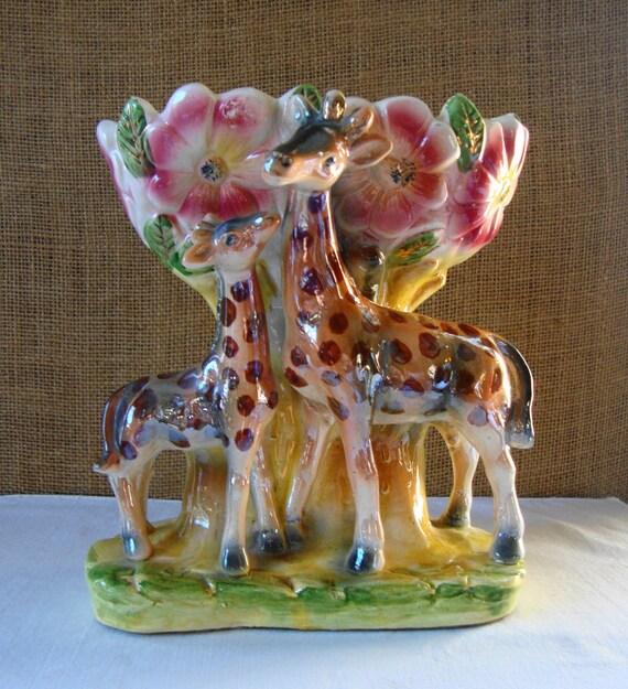 Vintage Lusterware Giraffe Flower Vase Planter By