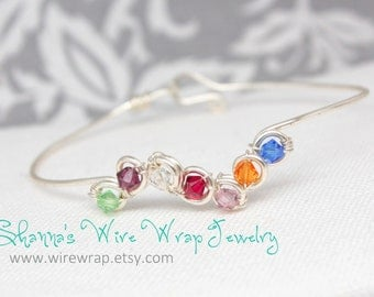 Mothers Bangle with Custom Birthstone Crystals, Sterling Silver Filled