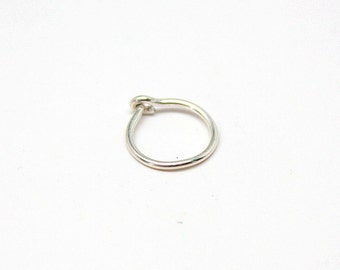 Tiny Hoop Cartilage Earring with Closure, Silver or Yellow Gold Filled