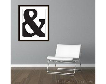 Ampersand Symbol Art Print - Ampersand Wall Art - Modern black and White Typography Wall Art - 16x20 Wall Art  - Modern Decor