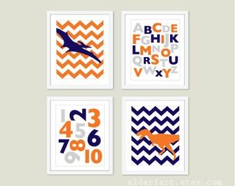 Dinosaurs Alphabet and Numbers Prints - Orange Navy Blue and Grey Nursery Wall Art  - Alphabet and Numbers Nursery Decor