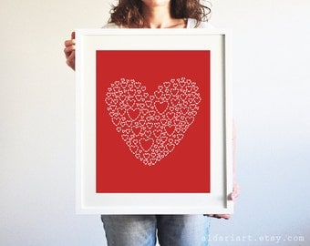 Red Heart Art Print - Heart Wall Art - Valentines Day Print - Aldari Art