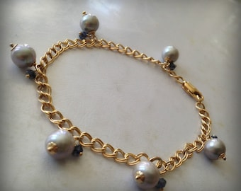 Gray Pearls, Iolite Gemstones and Gold Filled Double Link Charm Bracelet