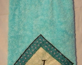 """Decorated Hanging Blue Cotton Kitchen/Hand Towel Personalized with Monogrammed /Embroidered with Letter  """"I"""" (13)"""