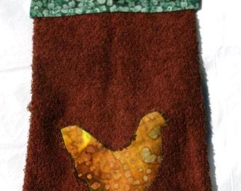 Decorated Hanging Kitchen/Hand Dark Brown Cotton Towel With Chicken Applique(36)