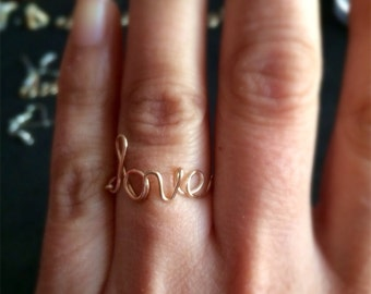 Word Ring,Wire Wrapped Word Ring, Love, Bff, You Name It Ring