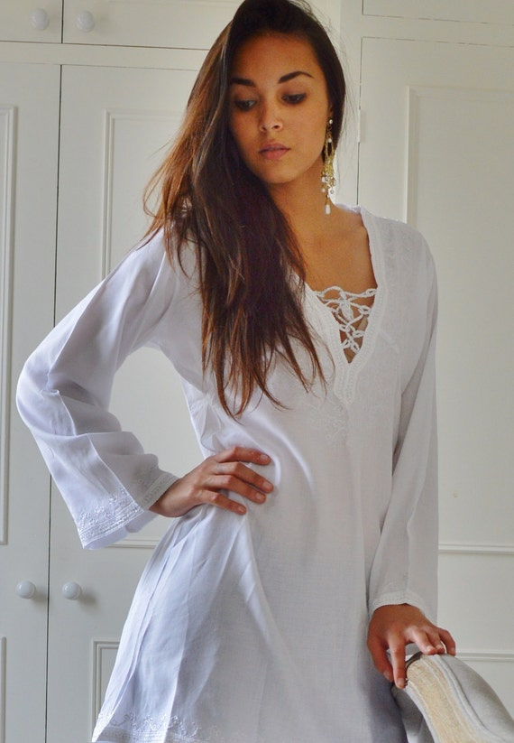 White Tunic Embroidered Dress-Karmia's Syle, for gifts, beach, resort, holiday, bohemian wear, boho, Moroccan