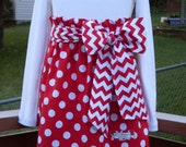 Buy Any 2 Skirts and Get 1 FREE, Red Polka Dot Paper Bag Skirt with Chevron Belt, Size 2, 3, 4, 5, 6, 7, 8, 9, 10, and 12