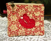 Handmade Zipper Pouch, Upcycled Upholstery Fabric, Antique Lace, Hand Dyed Paisley Applique, Beads, Lined, Beaded Zipper Pull