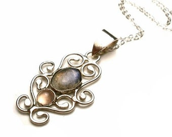 Labradorite and Pink Chalcedony Filigree Necklace in Sterling Silver - Gemstone Necklace - Labradorite Necklace