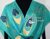 Hand Painted Silk Scarf. Teal & Turquoise Handmade scarf PEACOCK FEATHERS. Size 11x60 in. Silk Scarves Colorado. Hand Dyed Scarf 100% silk.
