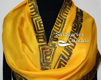 Yellow Silk Scarf Handpainted. Black Hand Painted Shawl. Handmade Silk Scarf GOLDEN GREEK. Size 11x60 Anniversary, Mother Gift. Gift-Wrapped