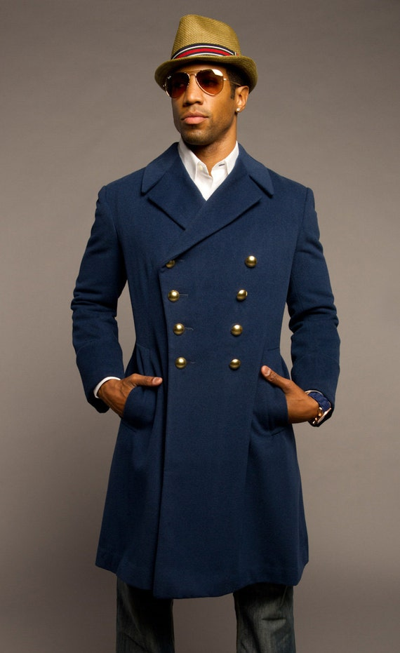 NEW 1960's Vintage MILITARY Style French Blue Wool Coat / OVERCOAT