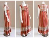 Vintage Southwestern arrow motif embroidered cotton maxi dress by David Mac G PARIS 1970s.