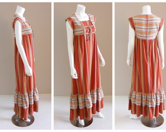 Vintage Southwestern arrow motif embroidered cotton maxi dress by David Mac G PARIS 1970s.
