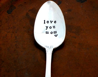 Love You Mom - coffee spoon. The Original Hand Stamped Vintage Coffee Spoons by Sycamore Hill.  Mother's Day Gift.  Coffee Lover. Tea Lover
