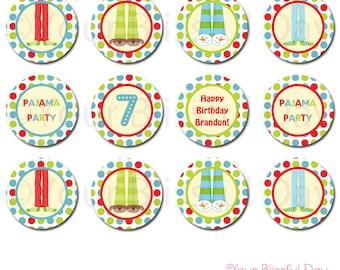 PRINTABLE Boy Pajama Party Circles (Personalized) #563