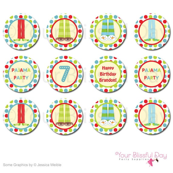 PRINTABLE Boy Pajama Party Circles (Personalized) #563