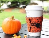 Halloween Mug Cozy - Orange and Black Jackolantern Coffee Sleeve - Pumpkin Coffee Cup Cozy - Ready to Ship