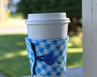 Adjustable Coffee Cup Sleeve - Bright Blue and White Geometric Dots - Inexpensive Stocking Stuffer - Secret Santa Gift - White Elephant
