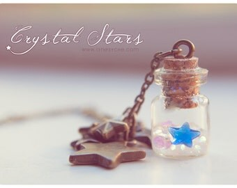 Tiny Bottle Necklace With Glitter and glass stars. CUSTOM STARS COLOR. Bottle charm necklace, potion bottle pendant, cute gift for women