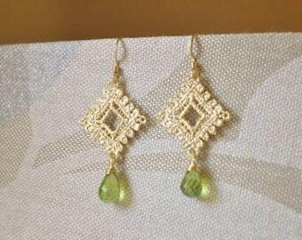 Gold Lace Jewelry Set - Lace Necklace/ Lace Earrings/ Peridot Jewelry/ Gemstone Necklace/ Feminine Necklace/ Dainty Jewelry