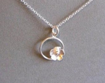 circle and  flower, sterling silver pendant
