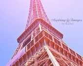 Paris Photography, Eiffel Tower, France Print, French Icon, Romantic Art, Pink and Blue, Parisian Art, Paris Print, French Decor, Hot Pink
