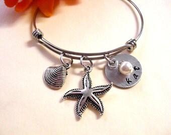 Starfish Bracelet, Beach Jewelry, Personalized Jewelry, Hand Stamped Jewelry, SST Bangle Bracelet