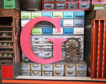 Vintage Marquee Sign Letter Capital 'G': Very Large Pink Metal Wall Hanging Initial -- Industrial Neon Channel Advertising with INTACT LEDs