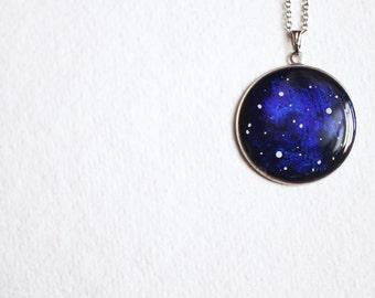 Galaxy Necklace - Nebula Cobalt Blue Space - Stars Jewelry