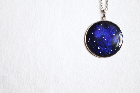 Galaxy Necklace - Nebula Cobalt Blue Space - Stars Jewelry