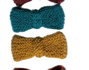 Knit Bow Tie Hand knitted brooch Wedding Prom Hipster Chap