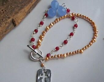 Beaded Bracelet, Double Strand Bracelet, Garnet Glass, Blue Quartz Briolettes, Cross Bracelet, Freshwater Pearl Bracelet, Etsy
