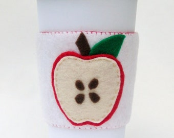 Red Apple Felt Cup Sleeve Coffee Cozy / Teacher Appreciation Present / Coffee Gift Under 10 / Fall Apple Accessory / End of Year Gift