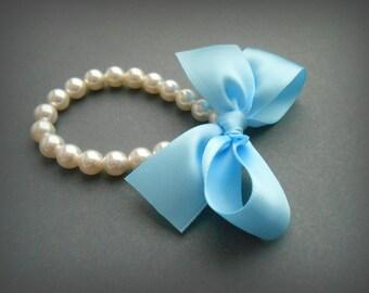 Pearl Bracelet In White Swarovski Crystal Pearls With Light Blue Satin Ribbon