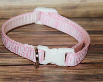 Light Pink Zebra Print Cat/Kitten Collar- Adjustable & Breakaway