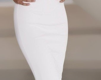High waist pencil skirt ,white, choose your size from 2 to 18 or your mesurments Made to Order