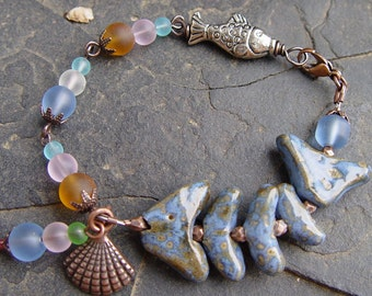 Swimming In Circles -- Articulated Porcelain Fish,  Beach Glass Bubbles Bracelet