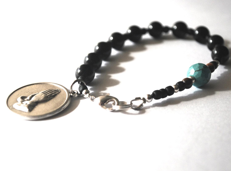 serenity prayer mens rosary bracelet black onyx tigers eye