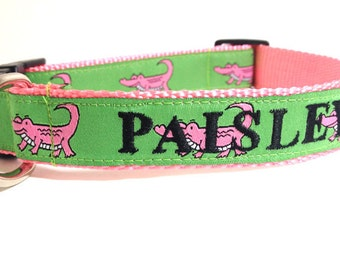 Personalized Preppy Alligators Dog Collar