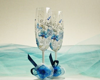 Wedding Champagne Flutes, Wedding Glasses, Hand Painted, Something Blue, Blue Wedding Glasses, Toasting Flutes, Set of 2