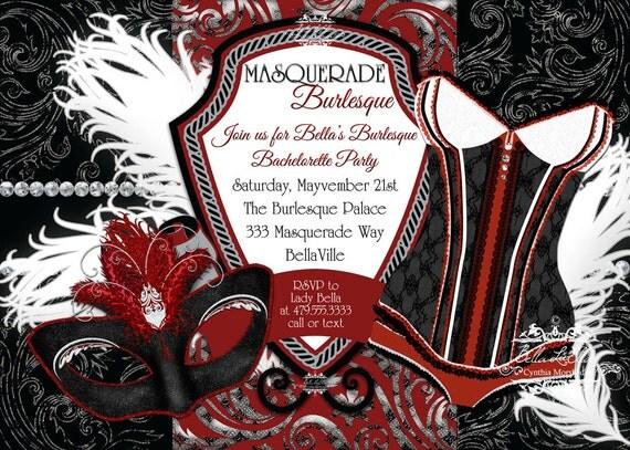 Masquerade Bachelorette Party Invitation Bachelorette Party