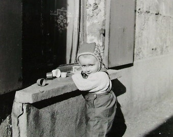 Vintage Photograph - Child Playing Outside with Toys