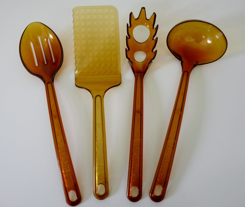 4 Vintage Amber Ultratemp Utensils-Spaghetti By Fuzzystars