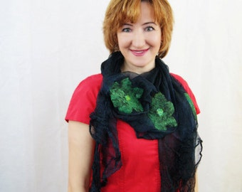 Green Shawl Emerald Wool Shawl Black Wrap Nuno Felt Shawl
