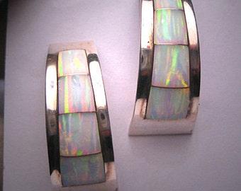 Vintage Opal Earrings Sterling Silver Inlay Estate