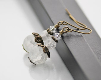 Frosted White Earrings, White Earrings, Antique Brass, Glass Drop Earrings, Vintage Inspired, Frosted Glass Earrings, Free Shipping