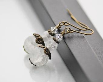 Frosted White Earrings, White Earrings, Antique Brass, Glass Drop Earrings, Romantic Earrings, Vintage Inspired, Frosted Glass Earrings