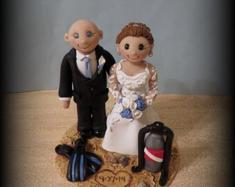 Wedding Cake Topper Custom Personalized Scuba Diving